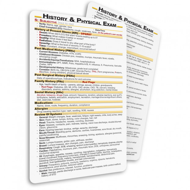 History & Physical Exam Pocket Card