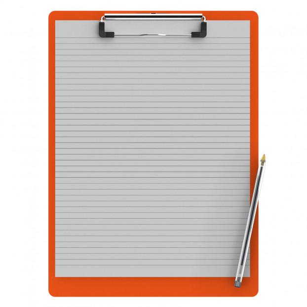 Letter Size 8.5 x 11 Aluminum Clipboard | Orange