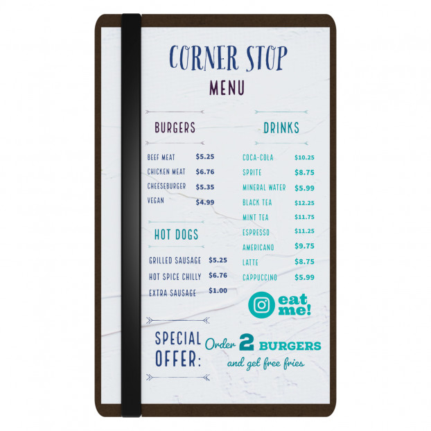 HDF Single Band Large Vertical Menu Board