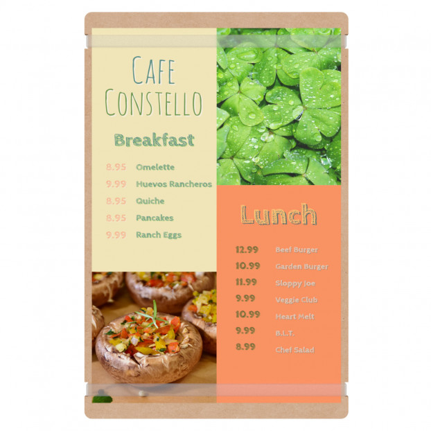 Large MDF Menu Board with Bands