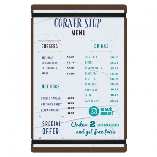 Large HDF Menu Board with Bands