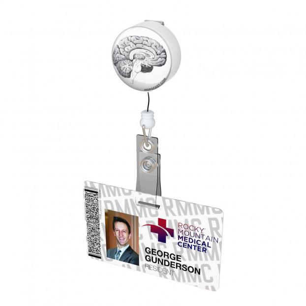 Vintage Brain Diagram Button Badge Reel