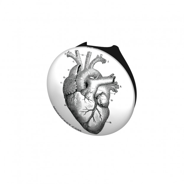 Vintage Heart Diagram Stethoscope Button